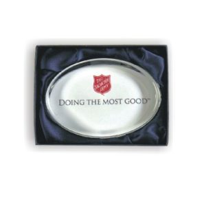 """Doing the Most Good"" Oval Glass Paperweight"