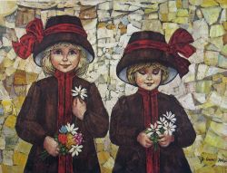 Two Little Lassies with Bonnets Canvas Print